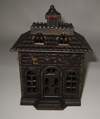 "1800's Vintage Cast Iron Bank Building Coin Bank 5.5"" tall Rare Great Shape BE44"
