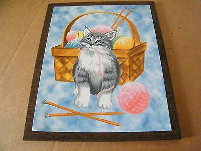"""Gray CAT kitten basket yarn country primitive cats art home decor sign 9x11"""""""