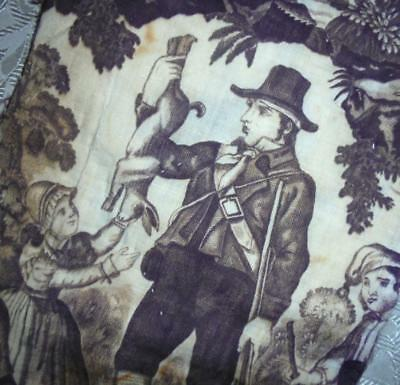BEAUTIFUL FRAGMENT EARLY 19th CENTURY FRENCH QUILTED TOILE DE JOUY REF, PROJECTS