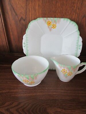 H Wain~Melba Ware~Hand painted Deco? Cake/Bread plate, Milk Jug and Sugar Bowl