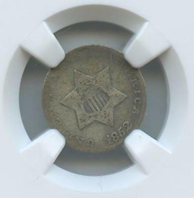 1852 - 3 Cent Silver U.s. Coin Ngc Graded Vg10 From Stacks Collection