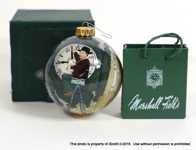2 MARSHALL FIELDS ORNAMENTS SHOPPING BAG + INSIDE PAINTED GLASS BALL Clock