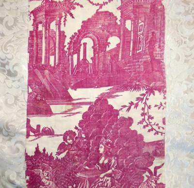 BEAUTIFUL FRAGMENT 18th CENTURY FRENCH TOILE DE JOUY c1790s, BOATS WINDMILL