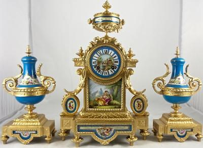 Antique French 19th c mantle clock garniture set & Sevres porcelain - A.D.Mougin