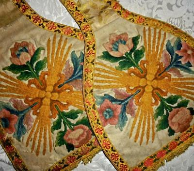 RARE 18th CENTURY GEORGIAN CREWEL WORK WOOL EMBROIDERY VESTMENT MANIPLE