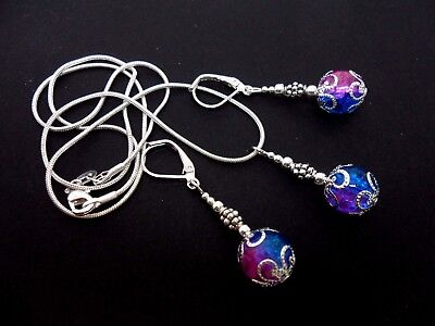 A Pink/blue Crackle  Glass Bead Necklace And Leverback  Earring Set. New.