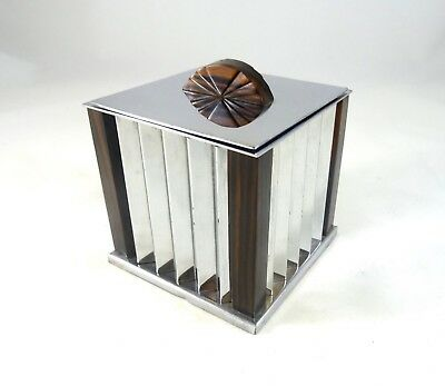 Rare Original Art Deco Chrome & Palisander Box France 1925 Antique Case