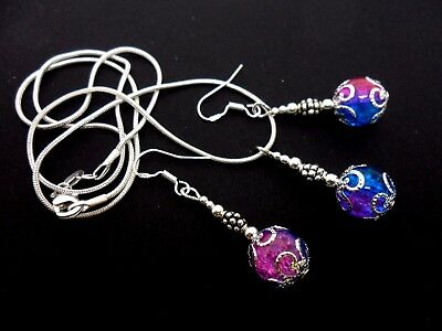 A Pink/blue Crackle Glass Necklace And Earring Set  With 925 Silver Hooks.