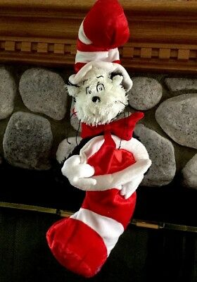 Dr. Seuss Cat in the Hat Plush Official Christmas Xmas Stocking  24""