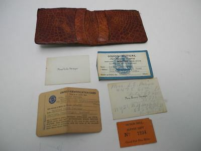 Vintage 1940's Alligator Wallet with Ladies Personal Papers Buick ID Card