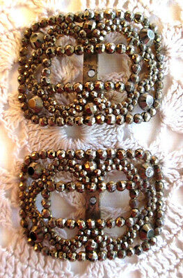Antique Bronze Marcasite Ornate Pair Of Shoe Buckles-Marked France