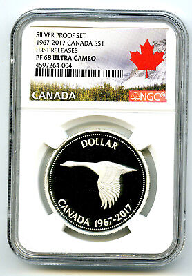 1967-2017 Canada Silver Dollar Proof Ngc Pf68 Ucam Centennial Flying Goose