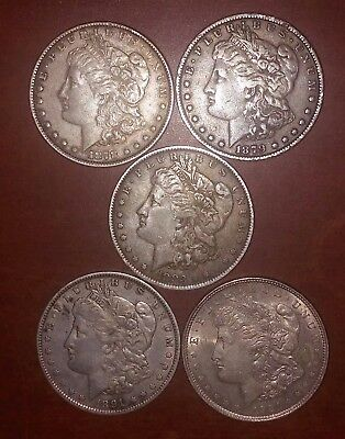 LOT OF 5 MORGAN SILVER DOLLARS 1878 1879 1883-O 1891 1921 MORGAN DOLLAR     m