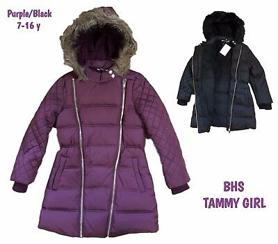 BHS Girls Coat Parka Jacket Winter Quilted Hooded Rain Warm School Fleece Lined!