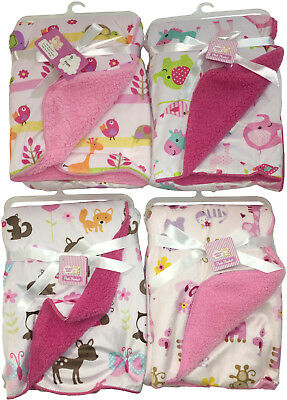 BABY GIRLS PRINT SHERPA BLANKETS > (Case of 24)