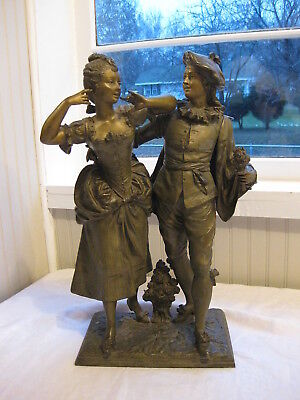 Antique Spelter Courting Couple Figurine-Statue
