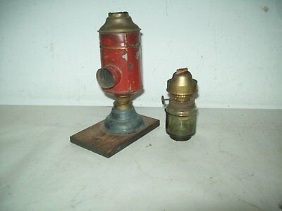2 small German magic lantern projecror  oil lamp parts with Vienna burners