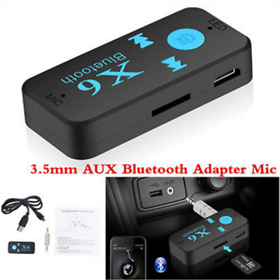 Black 3.5mm Wireless  AUX Audio Stereo Music Car Receiver Adapter + Mic