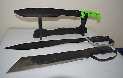 Three Brand New Carbon Steel Machete Sword Knife with Covers