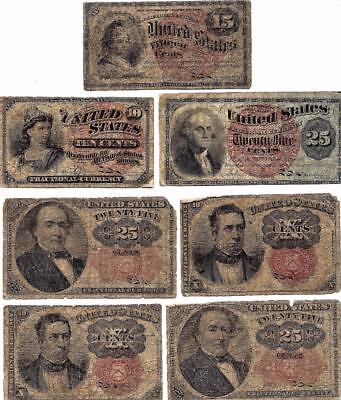 Lot of 7 US Fractional Currency 10 15 25 50 Cents 4th 5th Issue Notes Value Lot