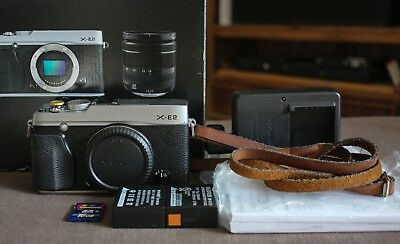 Silver Fujifilm X-E2 16MP XTrans Fuji X Digital Camera Body- In Box, Excellent!