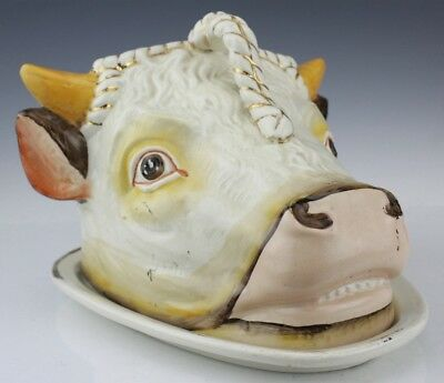 Antique English Staffordshire Pottery Figural Cow Head Cheese Dome w Plate JAL