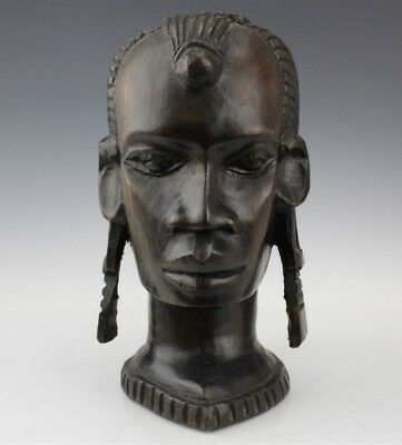 Vintage Hand Carved African Folk Art Nubian Warrior Hardwood Sculpture NR JAL