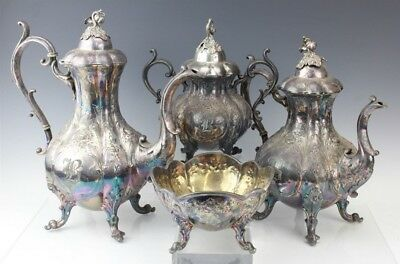 Vintage 4pc Reed & Barton Winthrop Silver Plate Ornate Coffee Teapot Set NR LBP
