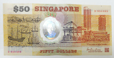Singapore $50 polymer Commemorative banknote 1990, D 950095, EF / XF condition