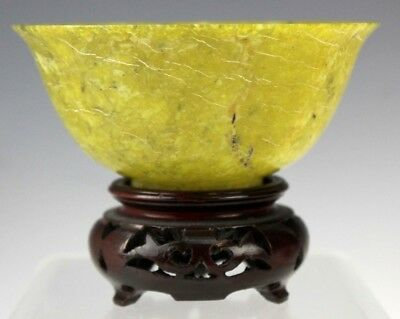 Finely Carved Vintage Chinese Light Green Spinach Jade Rice Bowl w Stand NR JAL