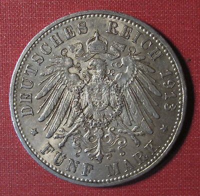 1913A Prussia, German States 5 Mark - Strong Details, Luster, Very Nice!!