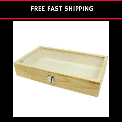 Mooca Large Wood Glass Jewelry Display Case Natural Wood 15in.X8.5in.X2 7/8in.H