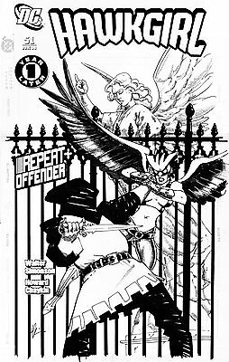 HOWARD CHAYKIN - Hawkgirl #51 cover; Hawkgirl battles in front of statue - CW TV