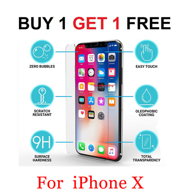 New 100% Genuine Tempered Glass Screen protector protection For Apple iPhone X