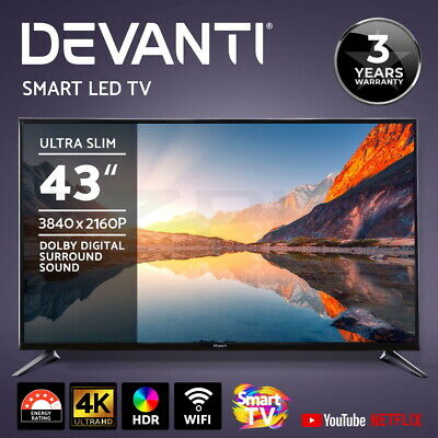 "Devanti Smart LED TV 43 Inch 43"" 4K UHD HDR LCD Slim Screen Netflix YouTube"