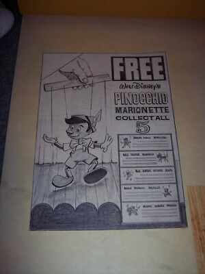 "Disney Pinocchio 1960s cereal box ""original"" mechanical art marionette puppet"
