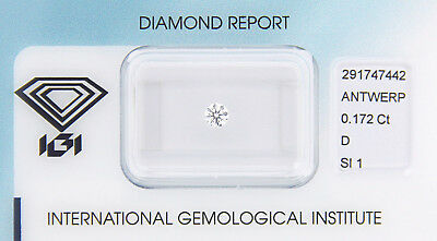 Diamant 0,172 ct D SI 1 IGI Zertifikat  - Sealed -