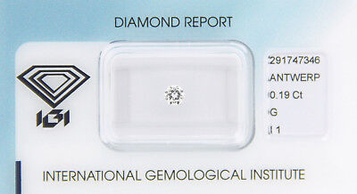 Diamant 0,19 ct G I1 IGI Zertifikat  - Sealed -