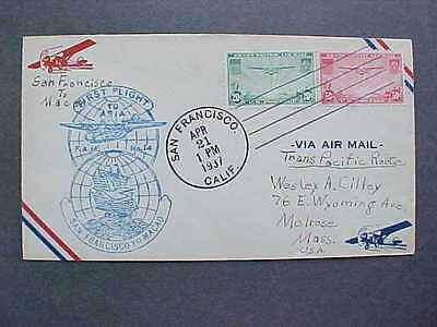 California: San Francisco 1937 First Flight Cover to Macao