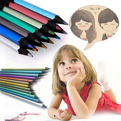 SPECIAL 12 Colours Metallic Non-toxic Drawing Pencils For Kid Adult Colouring