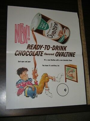 OVALTINE 1960s cartoon TV kid football player poster soda can drink mix offer