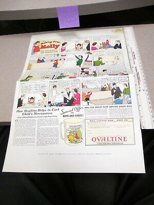 OVALTINE PROOF 1935 mag news ad blank back LITTLE ORPHAN ANNIE premium MO MOLLY