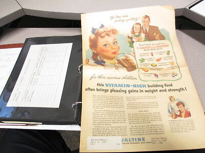 OVALTINE company 1948 in house record (120) ad binder TODDY better sleep pinup