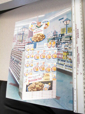 Kelloggs cereal box store display sales sheet 1960s RICE KRISPIES marshmallow A