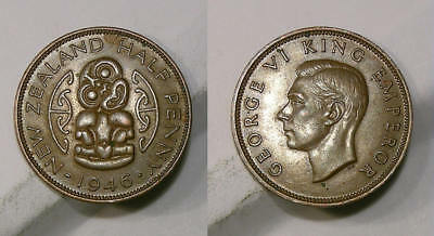 1946 New Zealnd Tiki Half Penny Brown Unc. X Rated, Look! Inv#307-66