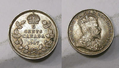 1907 Canada 5 Cent Sterling Silver Lustrous True Problem Free Xf Look! Inv307-23
