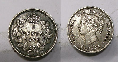 1899 Canada Sterling Silver 5 Cents Problem Free Vf/xf Look! Inv#307-18
