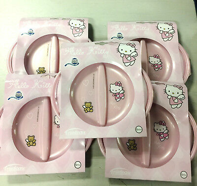 6 X Wholesale Joblot Hello Kitty Plastic Baby Toddler Divide Plates Food Cutler