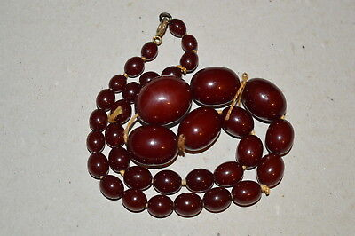 Vintage Cherry Amber Beaded Necklace, 47 Grams