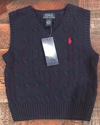 Nwt Polo Ralph Lauren Boys Cable Knit Sweater Vest Navy Blue Red Pony 4T, 3T, 2T